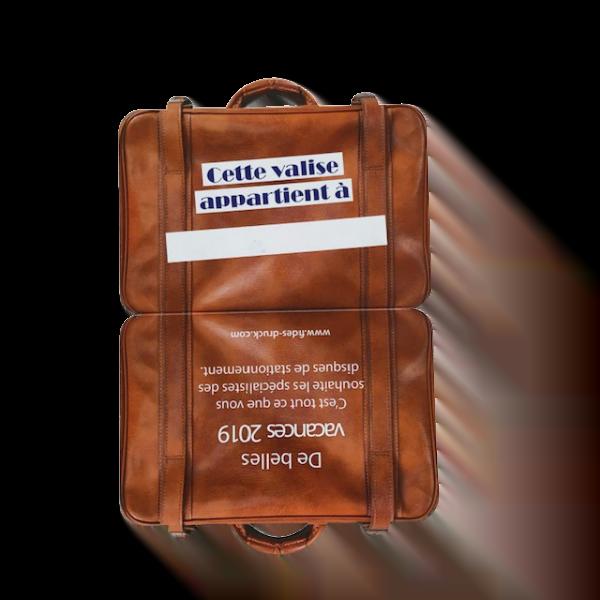 étiquette en forme de valise recto