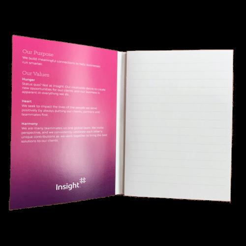 bloc de notes encollés 50 feuillets lignés 1 couleur avec couverture enveloppante imprimée quadri recto / verso