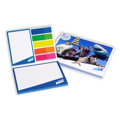 set de blocs repositionnables 100x75 avec couverture cartonnée 100 x 75 mm+ 50 x 75+marque page 50 x 75 mm