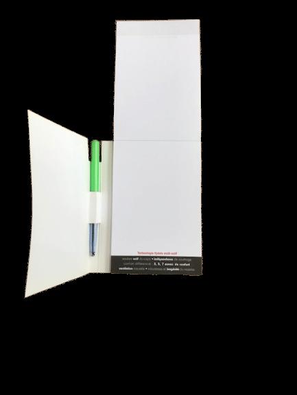 blocs notes avec couverture découpée imprimé quadri recto feuille à feuille